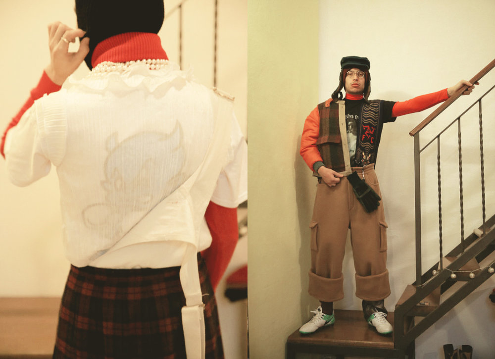 balaclava  THINSULATE  red rollback  STYLIST'S ARCHIVE  white frill shirt  VINTAGE  sempre meglio tee dungaree  STYLIST'S ARCHIVE  kilt  STYLIST'S ARCHIVE . hat  VINTAGE  red roll-neck  STYLIST'S ARCHIVE  ti odio tee  MALACODA  scarf  NOWHERE FC  trousers  SUNNEI  football boots  NIKE
