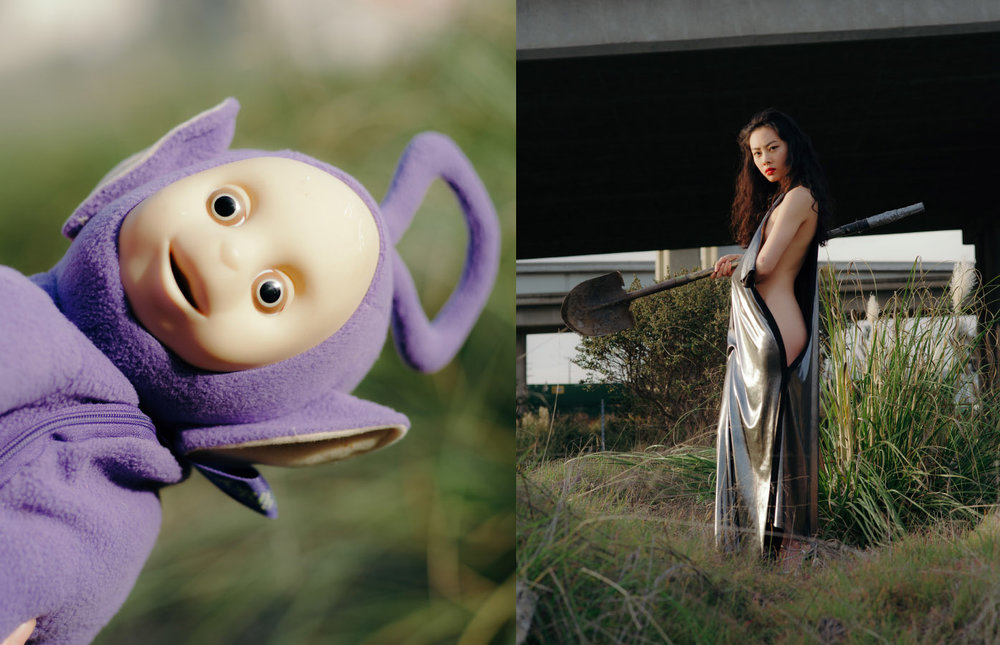 teletubbies backpack  STYLIST'S OWN . dress  MICOL RAGNI  shoes  STYLIST'S OWN