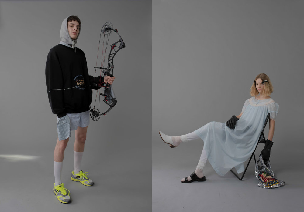 achilles wears hoodie  BALENCIAGA  shoes  LOTTO  shirt,  hood, sunglasses and underwear STYLIST'S OWN socks  GALLO . renske wears dress STYLIST'S OWN shorts MARNI ACHIVE shoes, bag and gloves STYLIST'S OWN