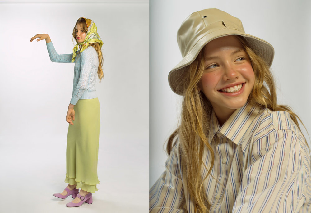 jersey skirt and handkerchief  STYLIST ' S OWN  shoes  KLING . shirt  RALPH LAUREN  hat skirt and sneakers  STYLIST ' S OWN