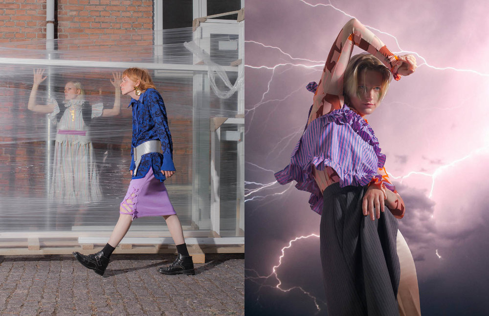 Louise wears dress   SOFIE SOL STUDIO   top   FREYA DALSJØ   boots   STINE GOYA   Louie wears blouse   STINE GOYA     belt  STYLISTS OWN  skirt     BLANCHE   shoes  STYLISTS OWN . Amalie R wears top   SOFIE SOL STUDIO   turtle neck   STINE GOYA      skirt   FREYA DALSJØ