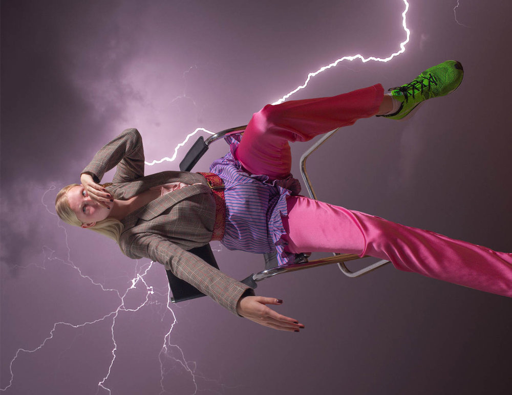Louise wears jacket  ENVII  shorts  SOFIE SOL STUDIO  trousers  STINE GOYA  belt shoes  STYLISTS OWN