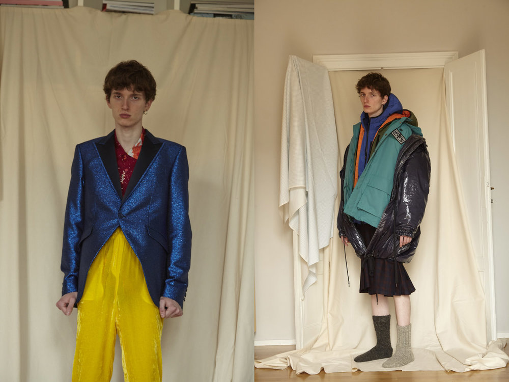 jacket  CARLO PIGNATELLI  shirt  HUF  pants  ATTIC AND BARN . blue/orange padded jacket  OOF WEAR  green bomber  OBEY  black padded jacket  ANDREA POMPILIO  skirt  WRAD