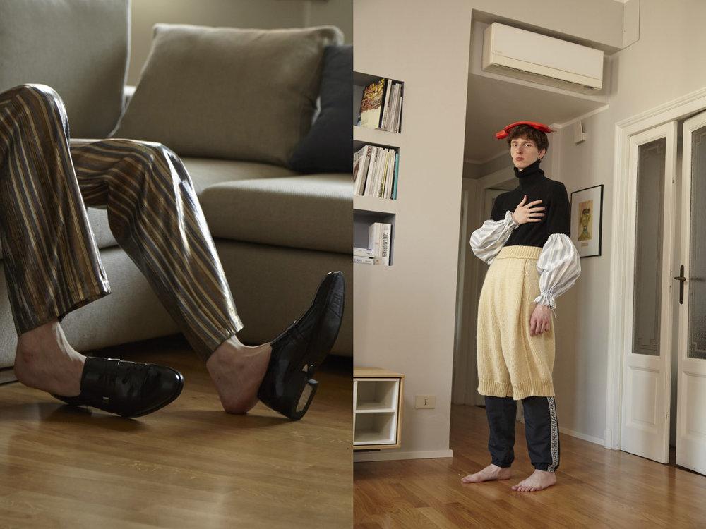pants  LUCIO VANOTTI  shoes  CARLO PIGNATELLI . sweater  DE  pants  BOBOUTIC  sport pants  OBEY  sleeves  VIEN