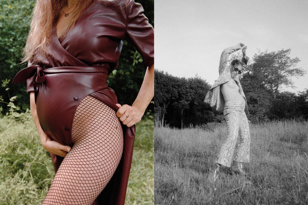 dress  NANUSHKA  tights  WOLFORD . jacket & pants  LEO  shoes  CHRISTIAN DADA  sunglasses  MODELS OWN