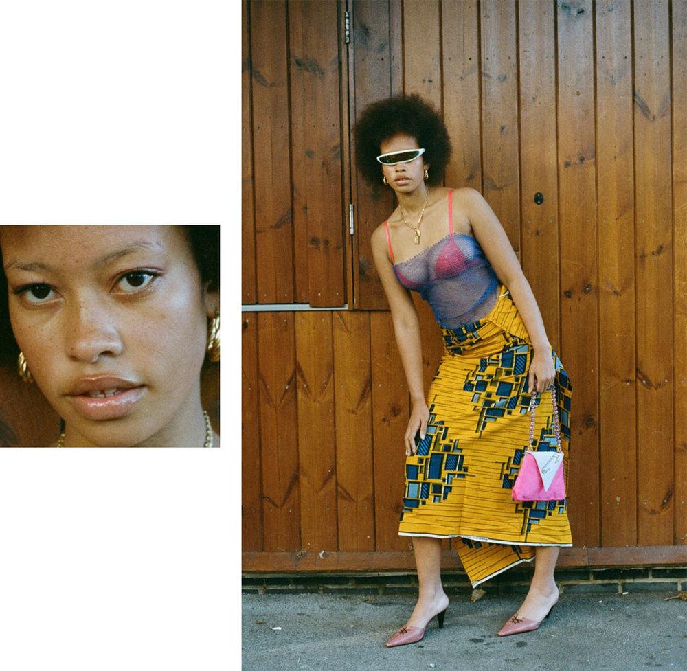 sunglasses  STYLIST'S   OWN  necklace  VINTAGE  net top  STYLIST'S   OWN  latex bra   ELISSA   POPPY   skirt  NIGERIAN   ANKARA   FABRIC . earrings  VINTAGE  bag  CLIO PEPPIATT  shoes  SERGIO ROSSI