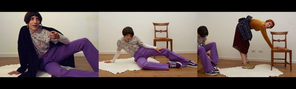 trousers  VICTORIA BECKAM  white t-shirt  LABO ART  t-shirt  GOLDEN GOOSE DELUXE BRAND  socks  MODEL'S   OWN , shoes  VANS  necklace VINTAGE and turtleneck  MARIOS  jacket  STYLIST'S   OWN  skirt  BELLEROSE  shoes  NIKE