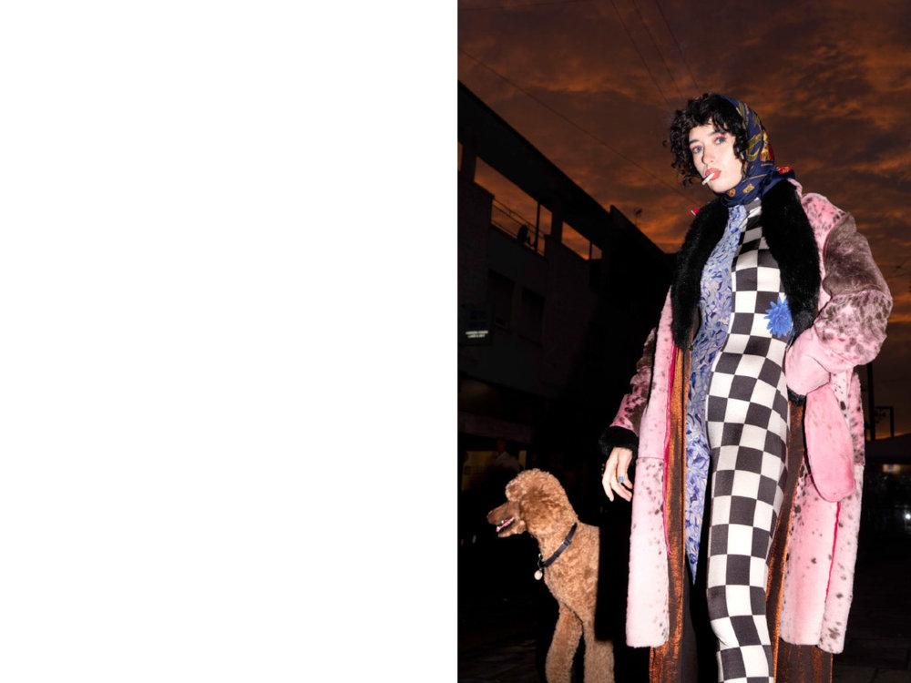 foulard  VINTAGE   CARTIER , bodysuit  FLORENTINA LEITNER , coat  STYLIST'S   ARCHIVE