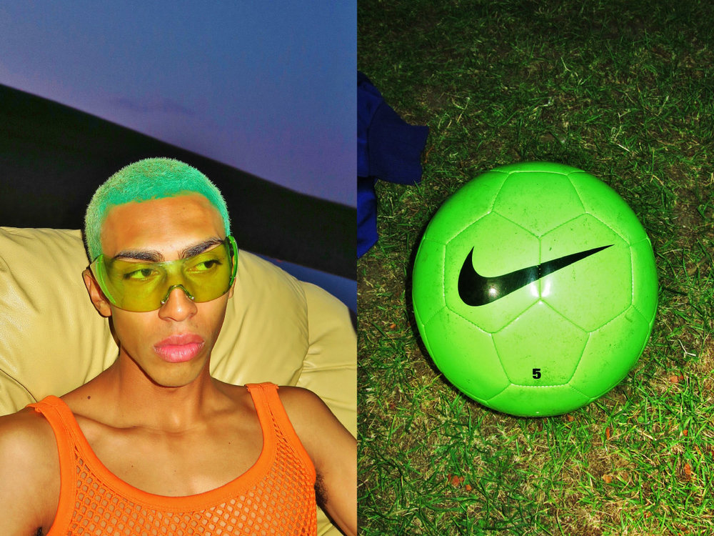 sunglasses STYLIST'S OWN crop top  PURE soccer ball   NIKE