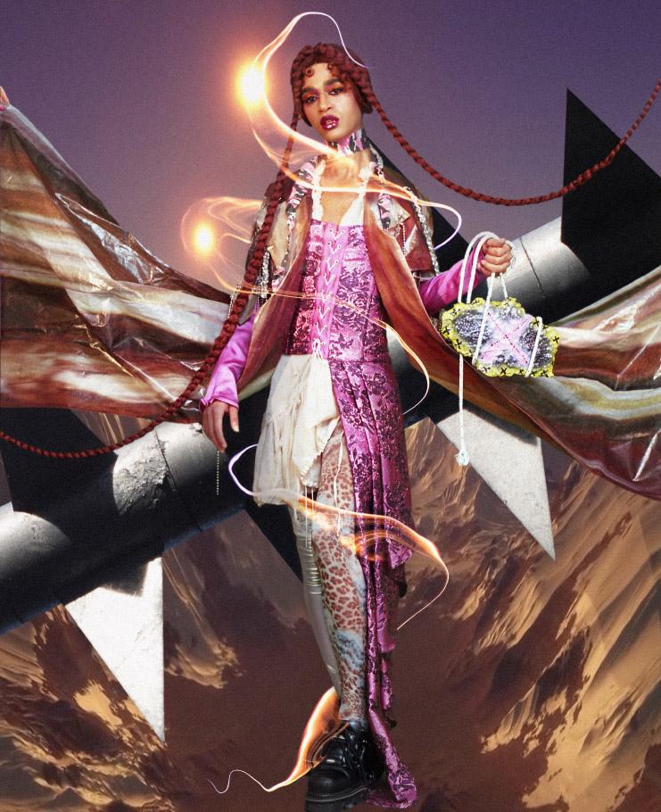 choker  STYLIST'S   OWN  dress  STYLIST'S   OWN  corset  MATEO VELASQUEZ  tights  STYLIST'S   OWN  stocking  STYLIST'S   OWN  coat  HINAKO NAKAZAWA  bag  HANNAH HETHERINGTON  shoes  STYLIST'S   OWN