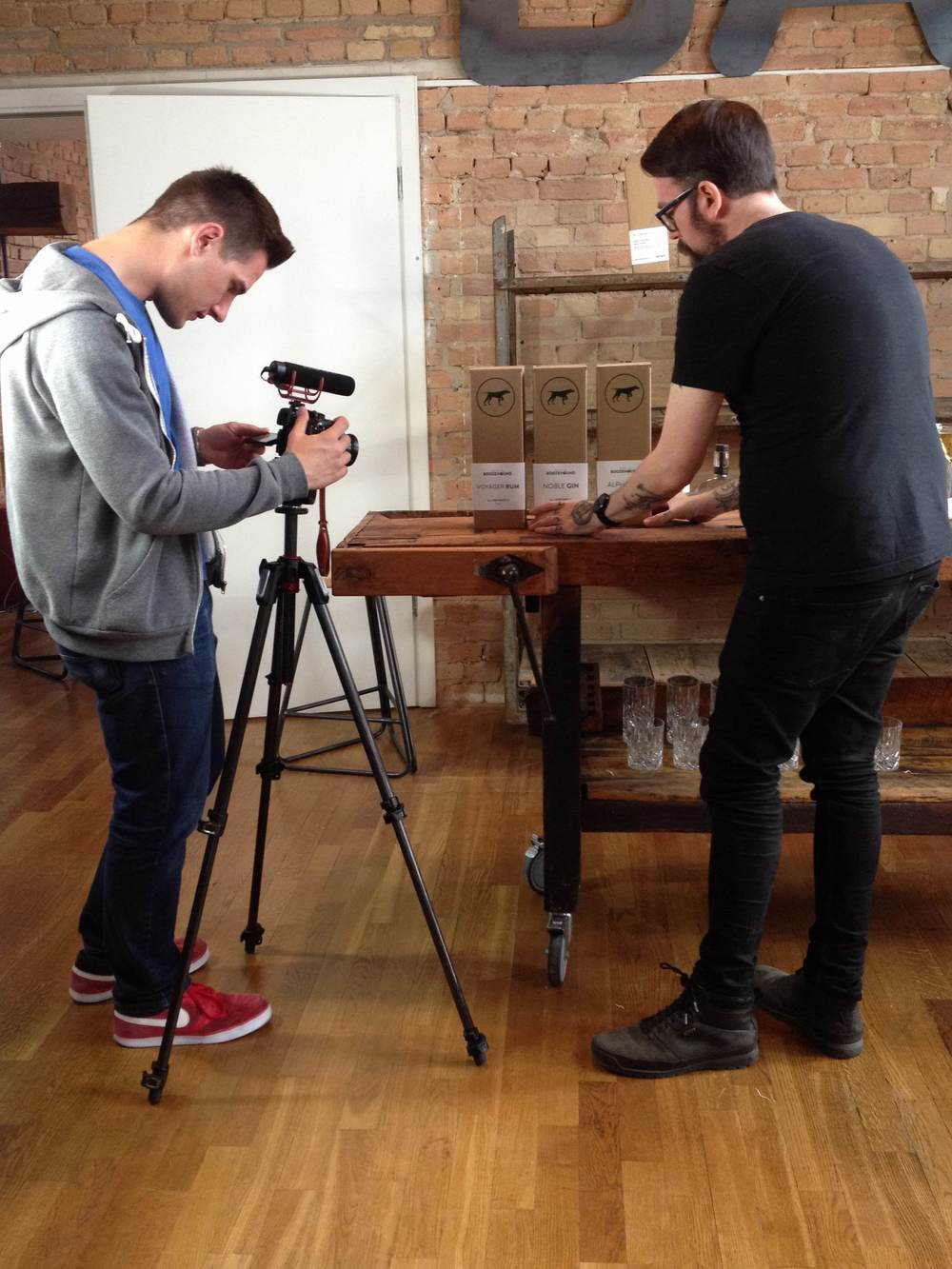 Setting up the photo shoot for our prototypes.