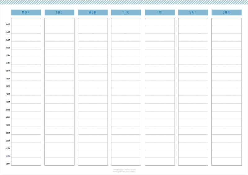 Printable weekly calendar. Click on the image to download pdf