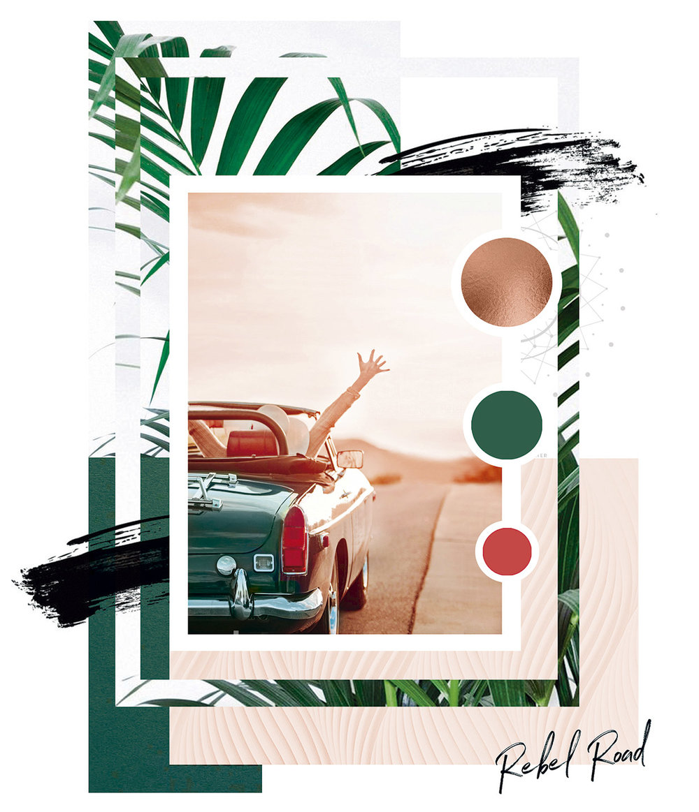 Brand mood board for Rebel Road, by Grafika Studio