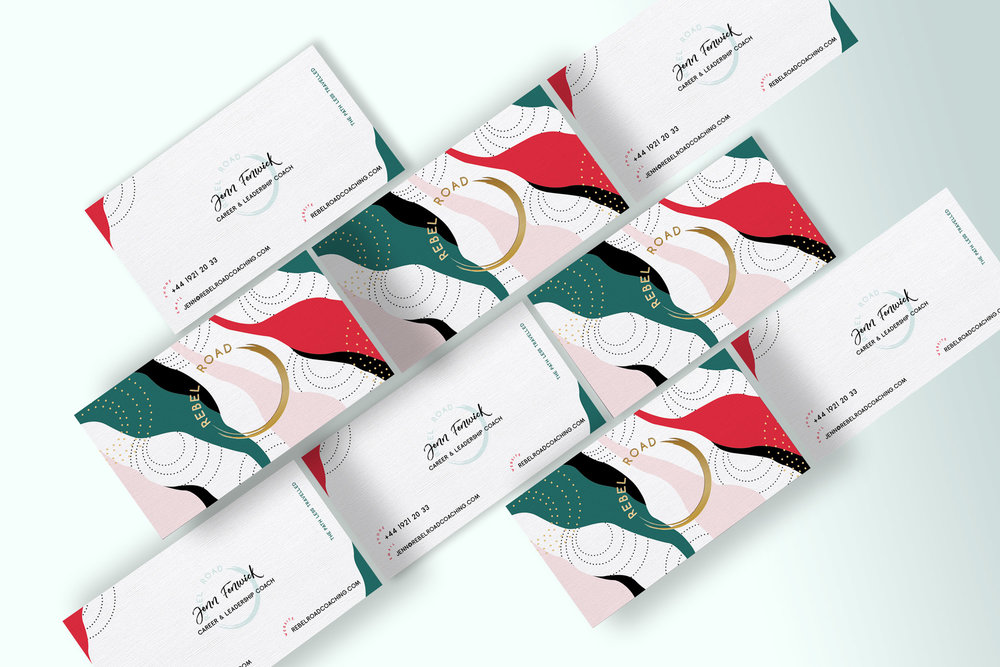 Rebel Road business cards designed by Grafika Studio