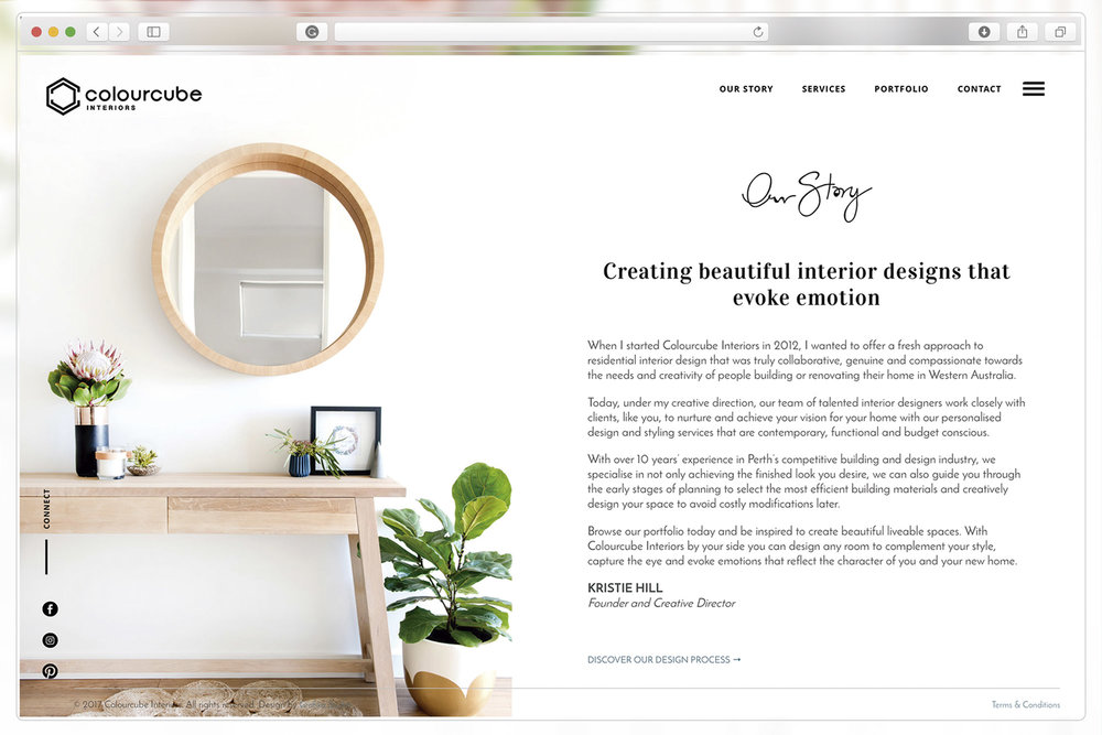About page of ColourCube Interiors website
