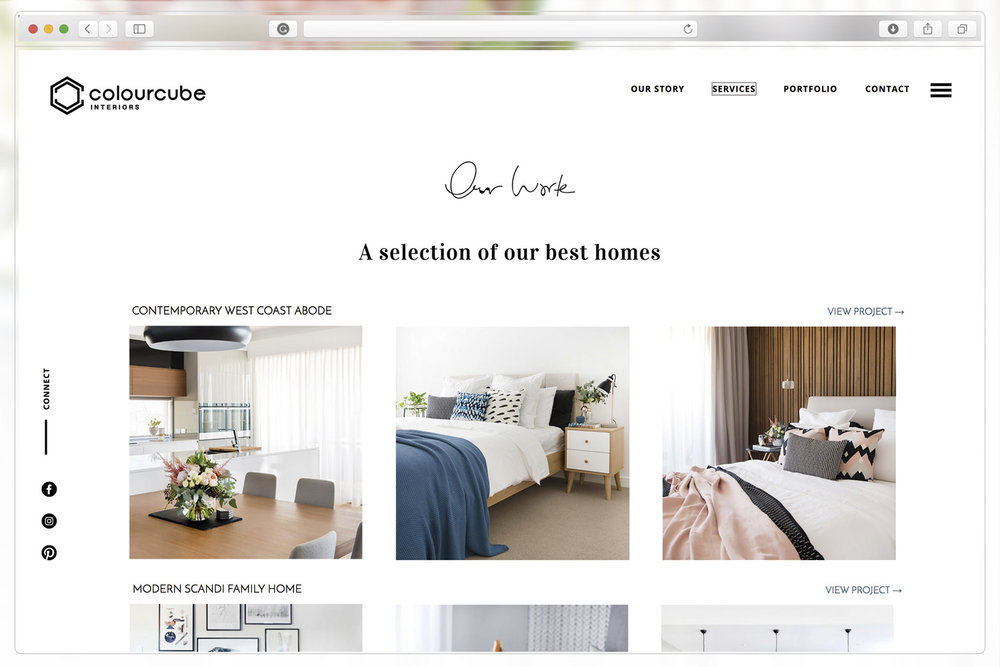 Portfolio page of ColourCube Interiors website