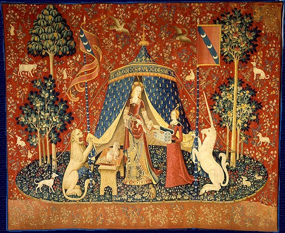 Lady and the Unicorn tapestries series Musée de Cluny, Paris.