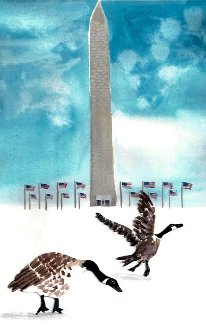 Washington Monument, Geese in the Snow.