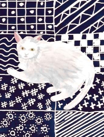 White Cat on Japanese Rug