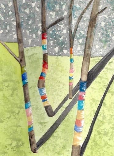 Trees Wrapped With Yarn