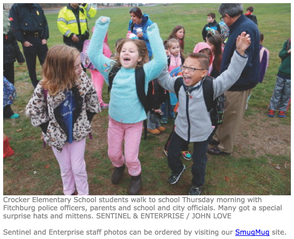 "FITCHBURG -- When students at the McKay Arts Academy and Crocker Elementary prepared for their weekly ""safe route"" walk to school with police officers Thursday morning, many got a special surprise -- hats and mittens...   Read more here!"