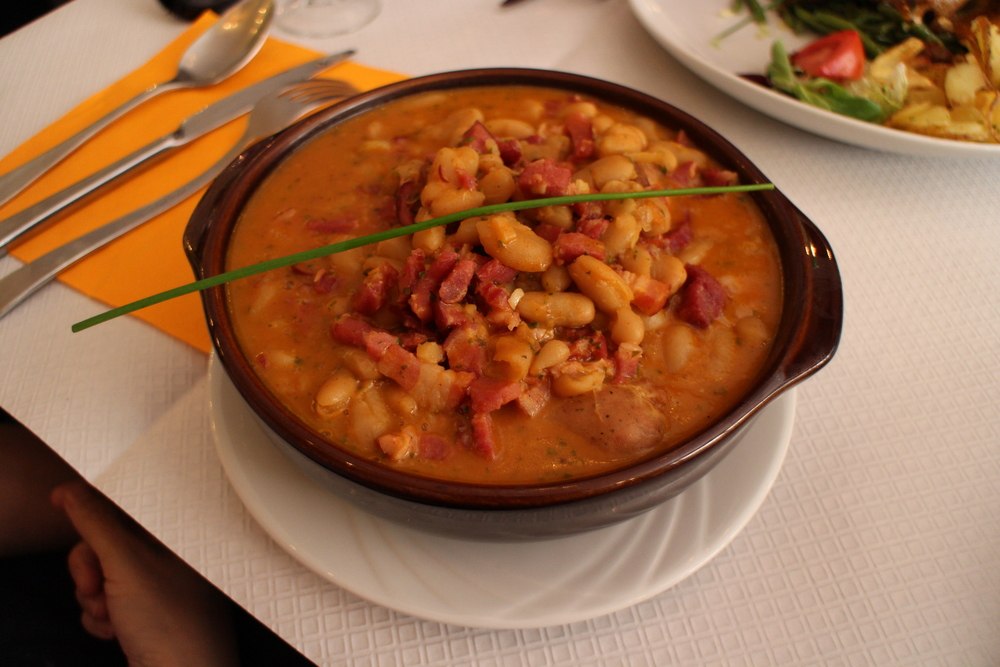 Cassoulet, a casserole of beans, pork, and sausage
