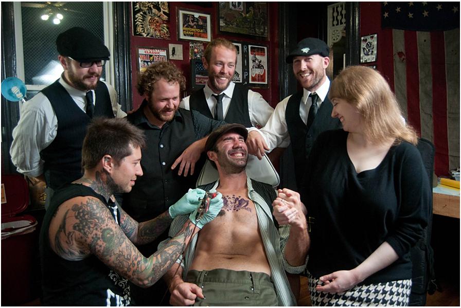 Bastard Bearded IrishmenLeft to right: Tattoo artist Justun Palencsar, Ben Jaber, Danny Rectenwald, Dan Stocker, Jon Pitcher, Rachel Karras. Seated: Jimmy Bastard.Shot at In The Blood Tattoo on East Carson Street.