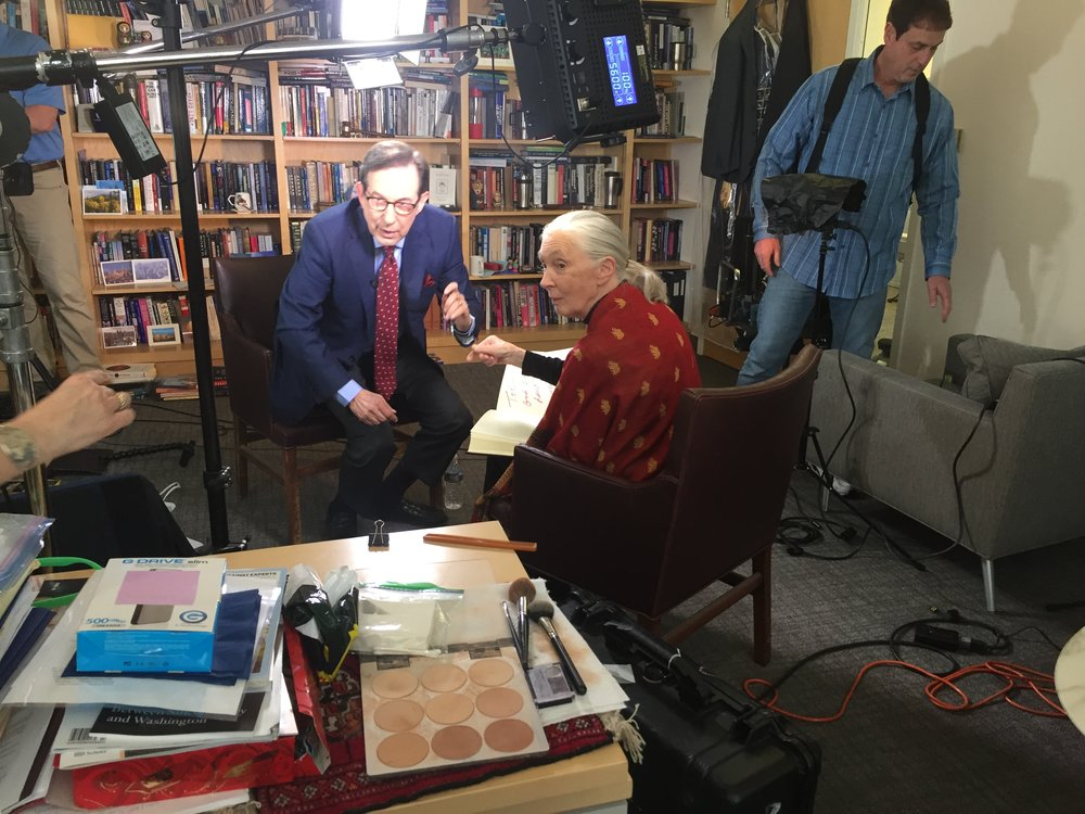 Pictured: Dr. Jane Goodall and Fox News Sunday host Chris Wallace.