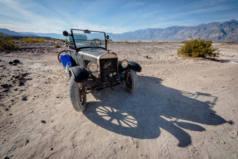 A Model T Ford driven down from Oregon. A fitting vehicle for the roads and area.