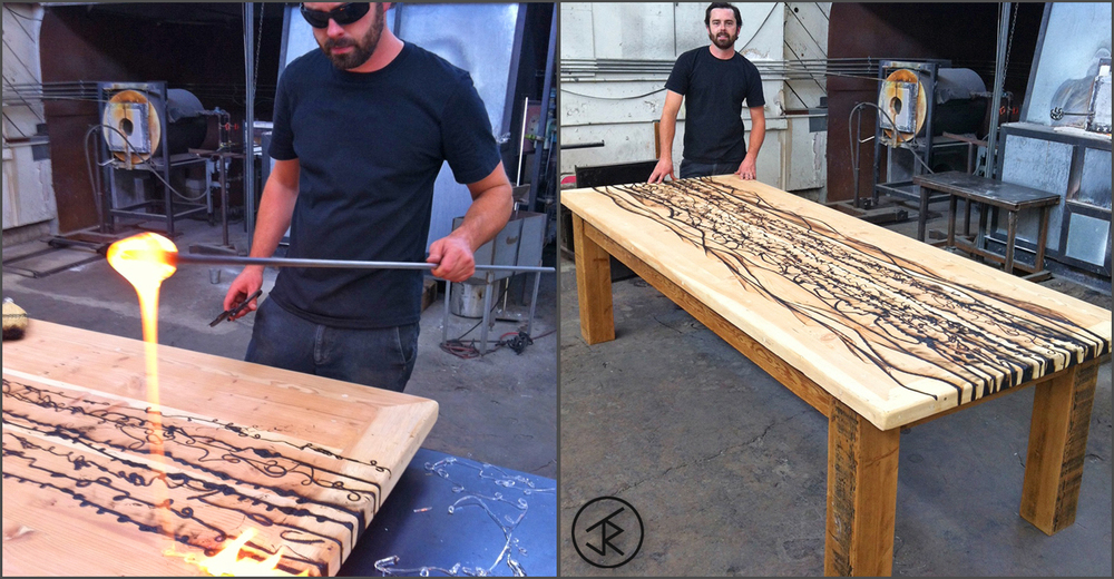 I burned this reclaimed barn wood table for a winemaker in Napa, CA using molten glass. The idea was to create a custom, one-off piece that invokes the feeling of an expansive vineyard with distant rolling hills on the horizon.