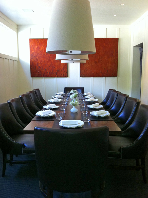 Two 4' x 4' Textured 'Paintings' made from the bark of the madrone tree. Now a permanent addition to the private dining room at The Restaurant at Meadowood, Napa, California.