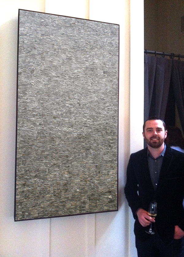 One of two Textured 'Paintings' made from wasp nest paper. Now a permanent addition to the main dining room at The Restaurant at Meadowood, Napa, California.