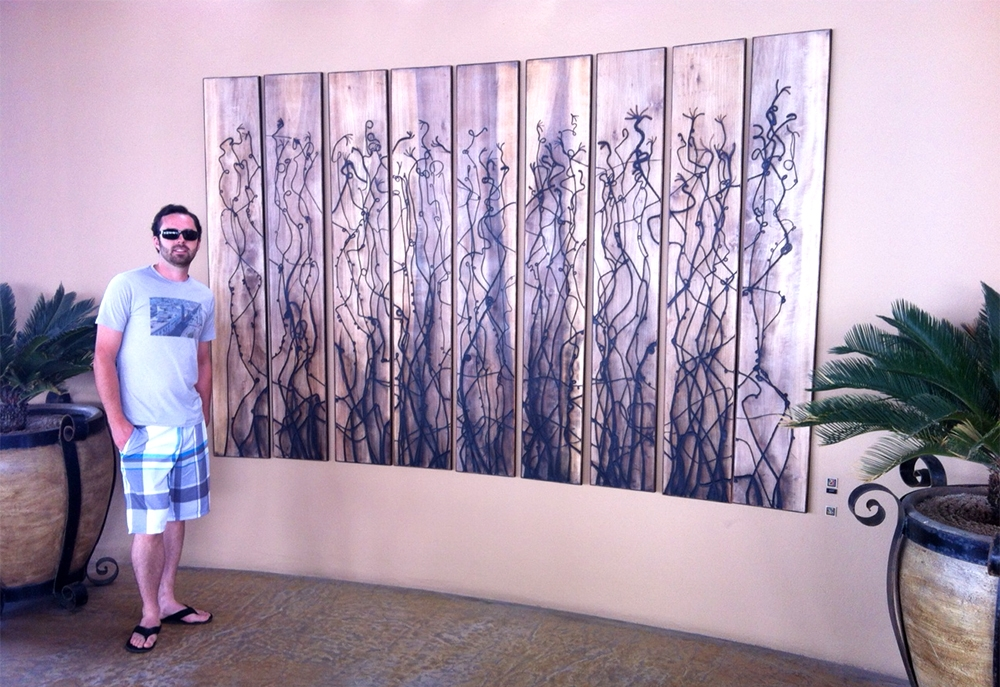 A custom piece I called The Nine for Cocina Del Mar, the main restaurant at Esperanza, An Auberge Resort in Cabo San Lucas Mexico. This piece is attached to a curved wall outside facing the Sea of Cortez and the burned lines echo the flora of the sea.