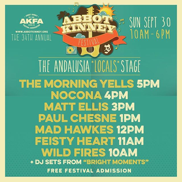 Playing the Abbot Kinney festival today at 1pm with @paulchesne  Get weird in Venice!