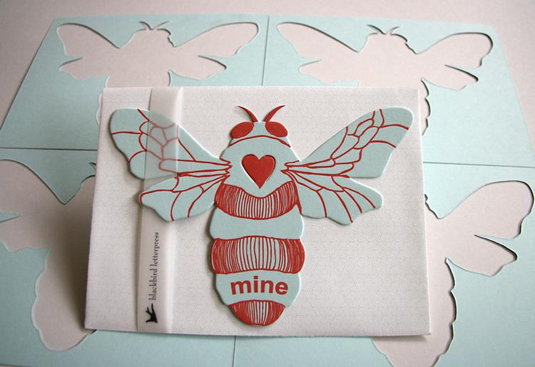 letterpress bee mine card die cut Blackbird Letterpress – Bee Mine Valentine Card