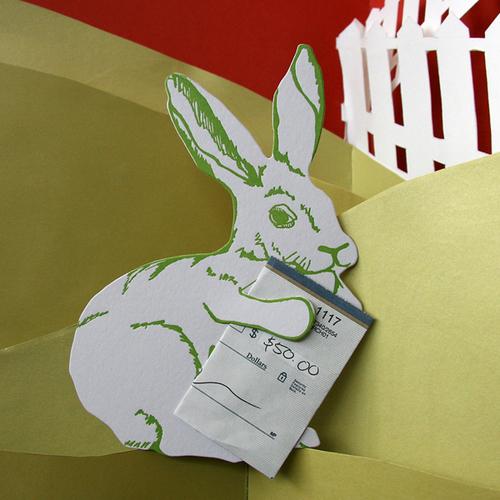 Letterpress Birthday Card Bunny Die Cut