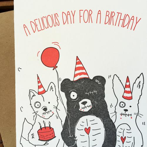 Letterpress zombie birthday card blackbird letterpress letterpress zombie birthday card bookmarktalkfo Images
