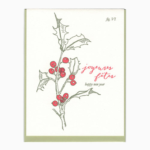 letterpress happy new year holly card