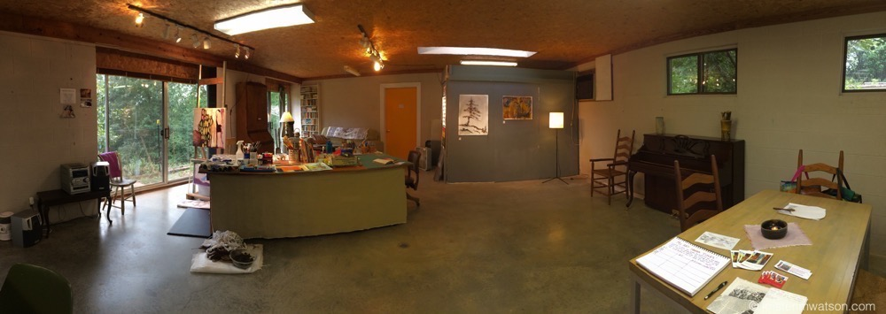 A panoramic view of the western side of my live/work space at Rensing Center.