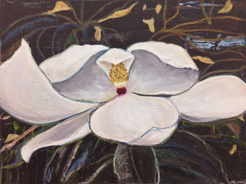 Magnolia, 18x24 in. acrylic and oil pastel on canvas, ©2016 kristen m. watson 2.jpg