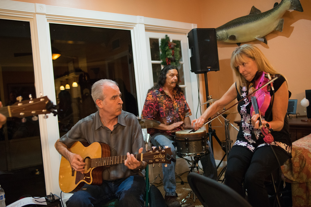 Douglas, Bill and Amanda at St. Petersburg, FL House Concert December 12, 2015 , photo credit: Mitchel Frick