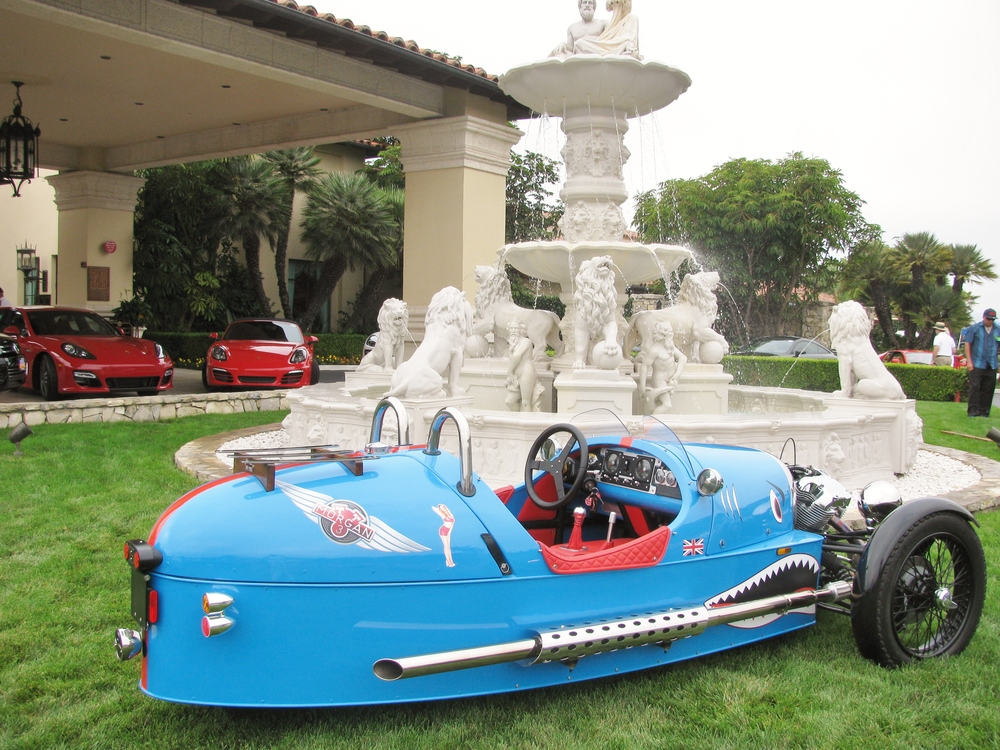 PV Concours 2012, Morgan Roadster & New Porsche's, Trump Clubhouse Fountain. Photo by Kay Finer.JPG