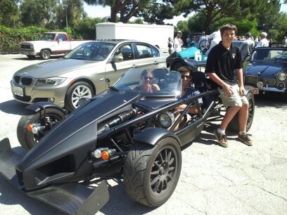 PV Concours 2012, Rallye designer, Andrew Olson with Arielatom Space-age car. Photo by Kay Finer.jpg