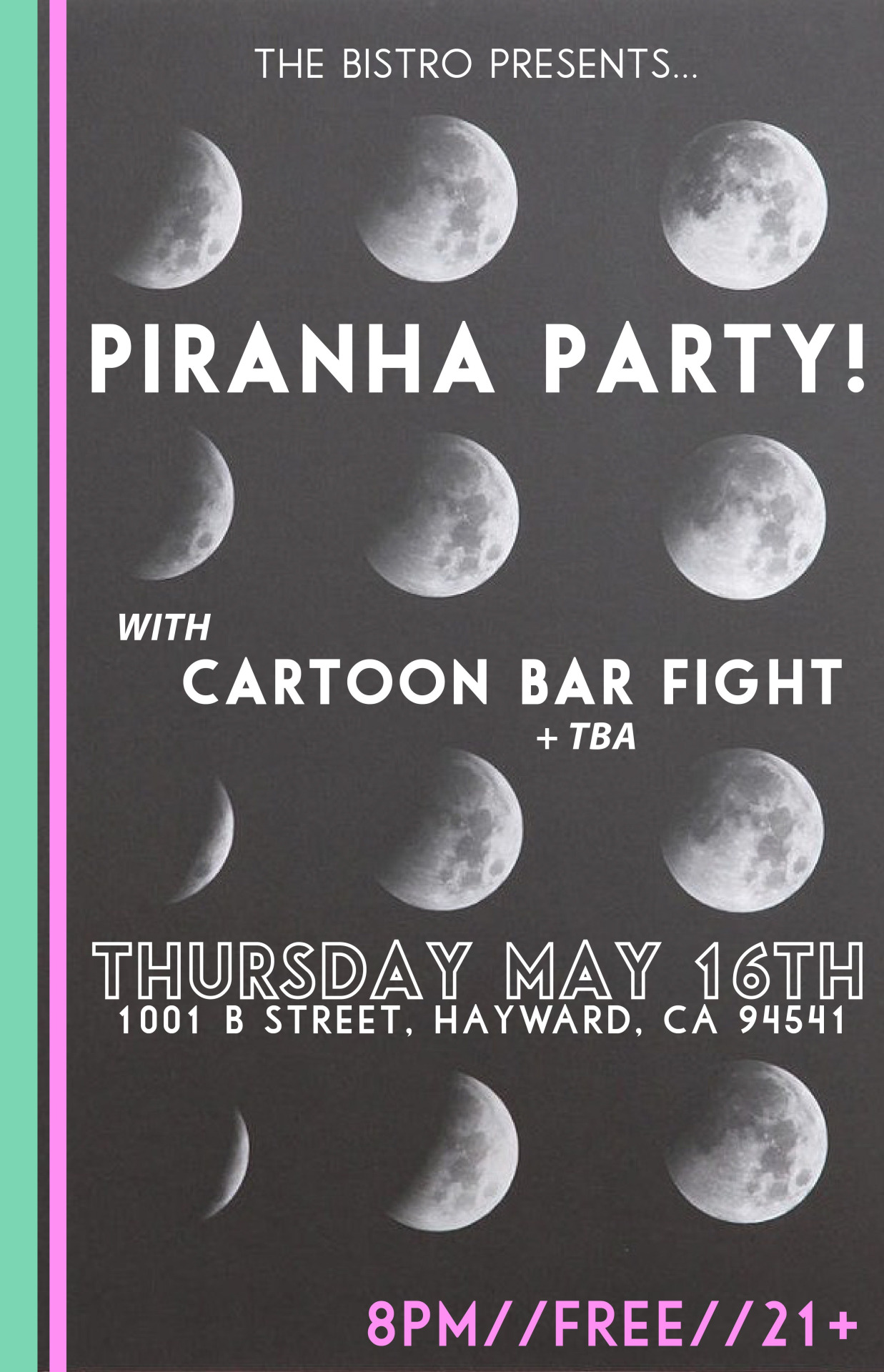 Just announced! This'll be fun—we love  Piranha Party!  from Fremont, CA. Check this out, it will kick off our Bay Area mini tour this May.
