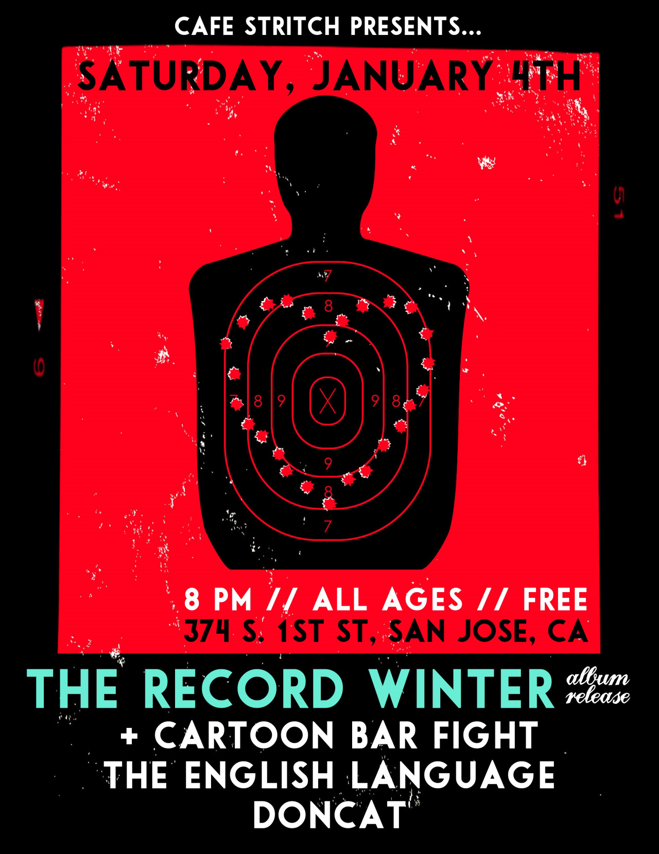 NEW SHOW ANNOUNCED: Sat. 1/4 at Cafe Stritch—The Record Winter's album release! I sang on some of their new tracks and will perform them live. CBF will also be playing new tunes. Facebook event  here ! -Kendall