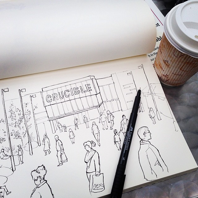 Enjoying an afternoon looking round art galleries, having a quiet cuppa and sketching in the winter gardens #sheffield #drawing #sketch #sketchbook #pen #doodle