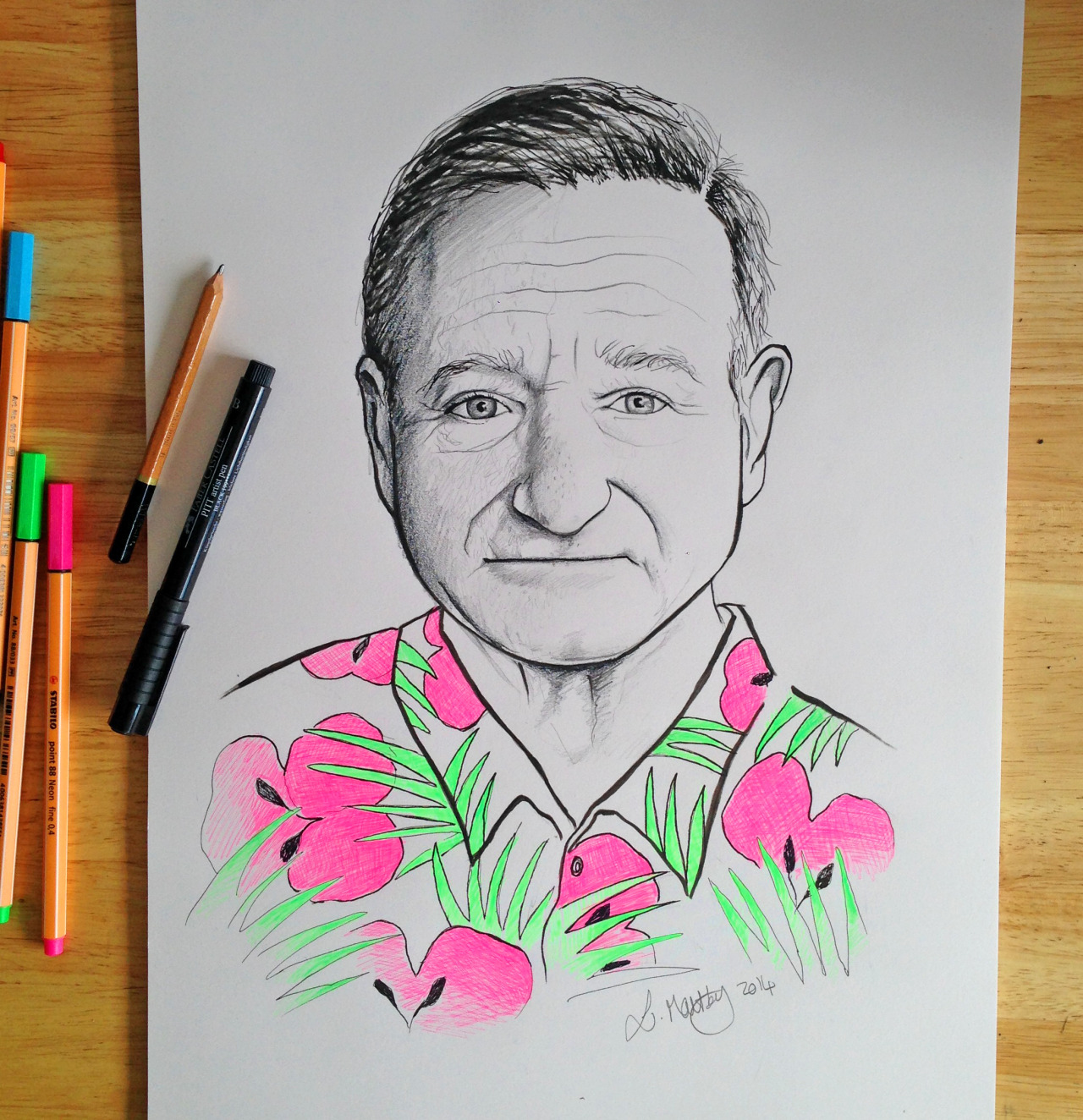 My tribute to Robin Williams, such a great comic and actor. I am auctioning this original, signed drawing of Robin Williams to raise money for MIND mental health charity. STARTING BID AT JUST 99p! Please bid generously to raise money for this great charity and to raise awareness of mental health issues which affects 1 in 3 of us.  Please share! PLEASE BID HERE!