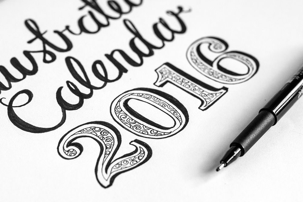 lettering for an illustrated calendar
