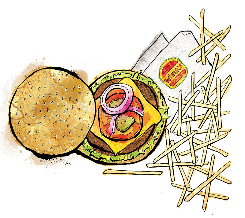 burger and chips illustration