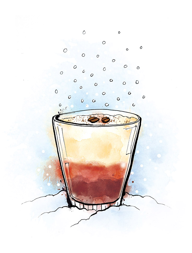 White Christmas cocktail illustration, revolucion de cuba